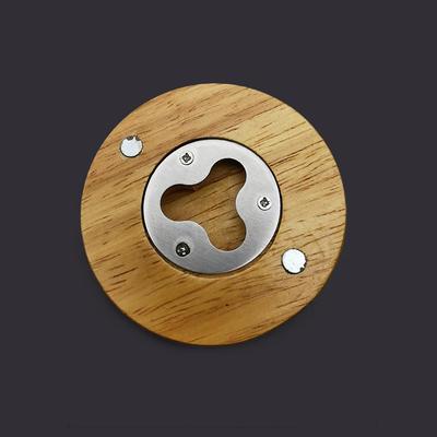 Custom Magnetic Round Wood Coaster Bottle Opener