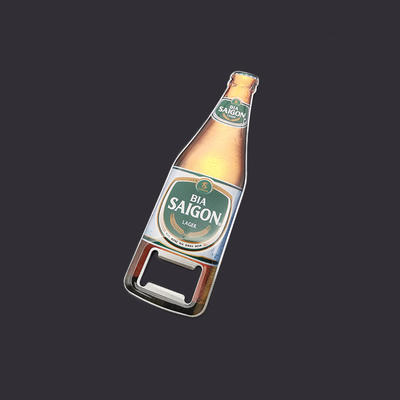 Stainless Steel Bottle shaped Beer Opener with Doming sticker