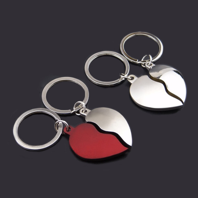 Double Heart Couple Keychain