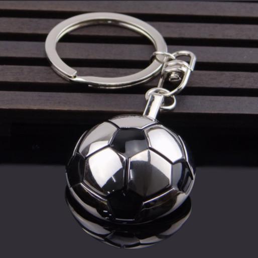 Half 3D Metal Football Keychain