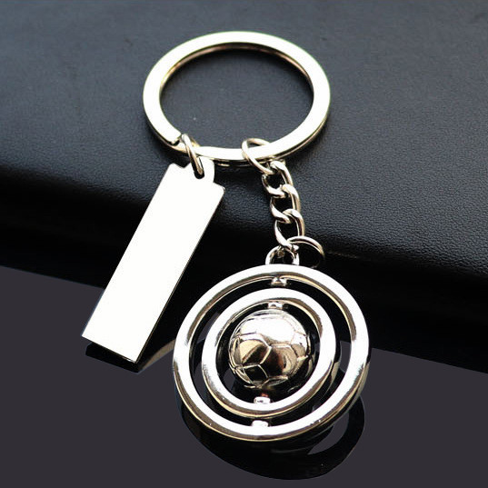 Football rotating keychain with label tag