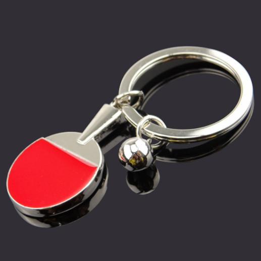 Ping pong paddle and ball keychain