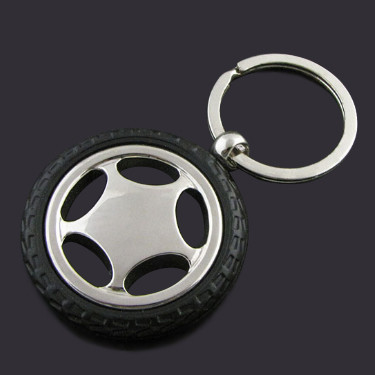 Metal Tire Keychain  with rubber tire