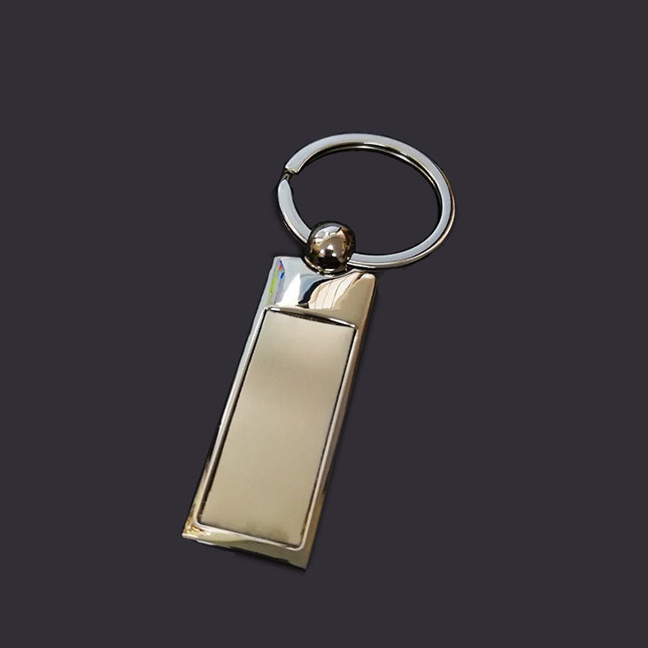 Square shpe with stainless steel patch keychain metal key tag