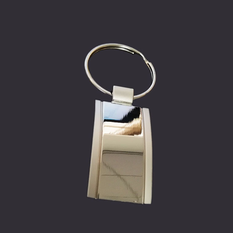 arc-shaped blank key tag keychain with double plating