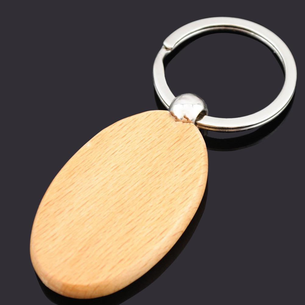 Oval wooden key chain custom key ring