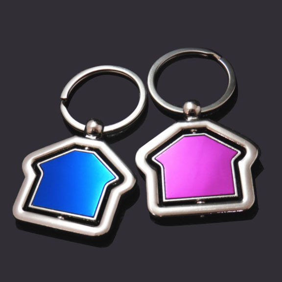 House shape rotable blank keychain