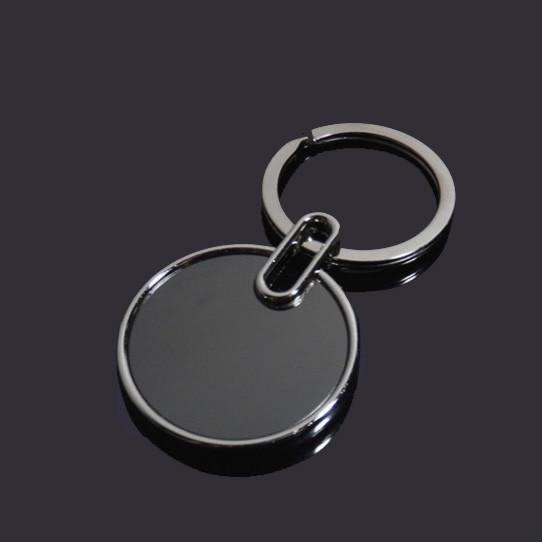 Round shape black blank key tag metal key chain
