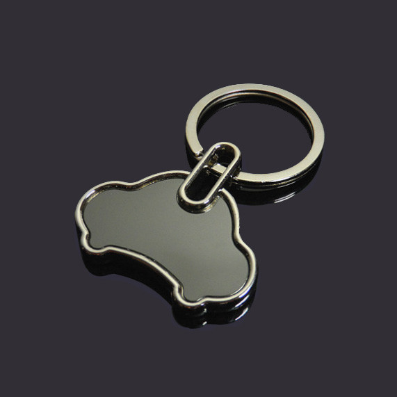 Car shape blank keychain black stainless steel key tag