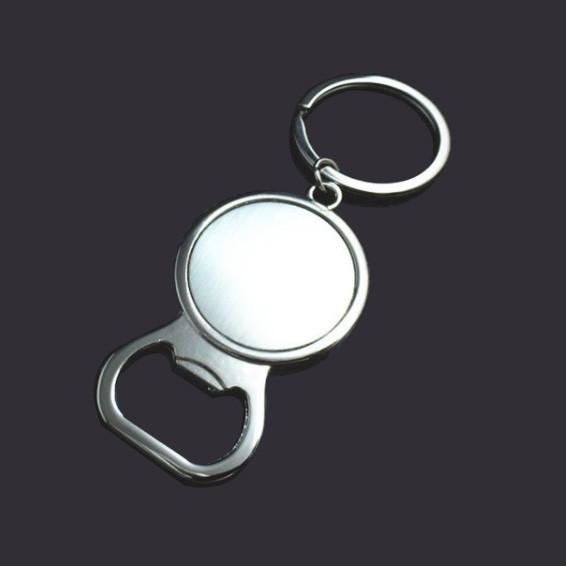 Round shape blank bottle opener key tag custom keychain