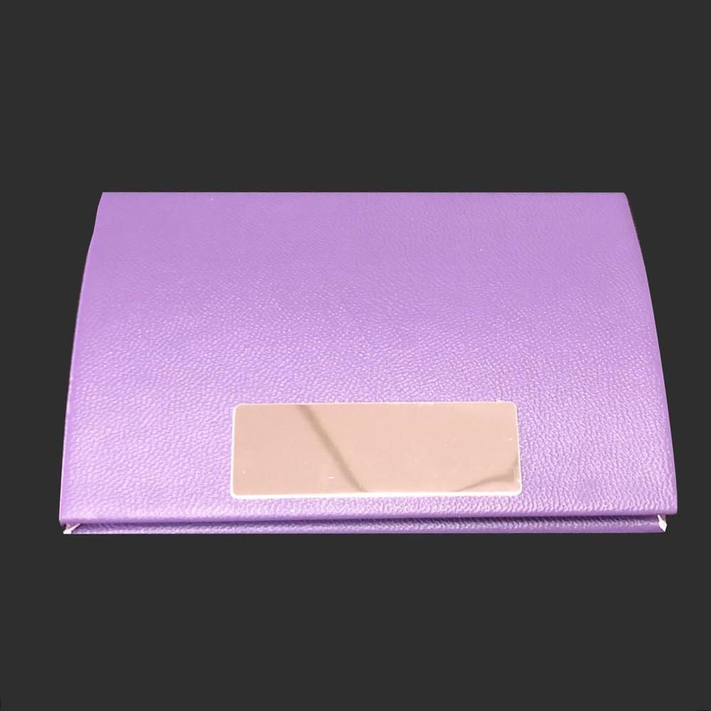 Plain Leather Cardcase Metal Business Attractive purple Leather Card Holder