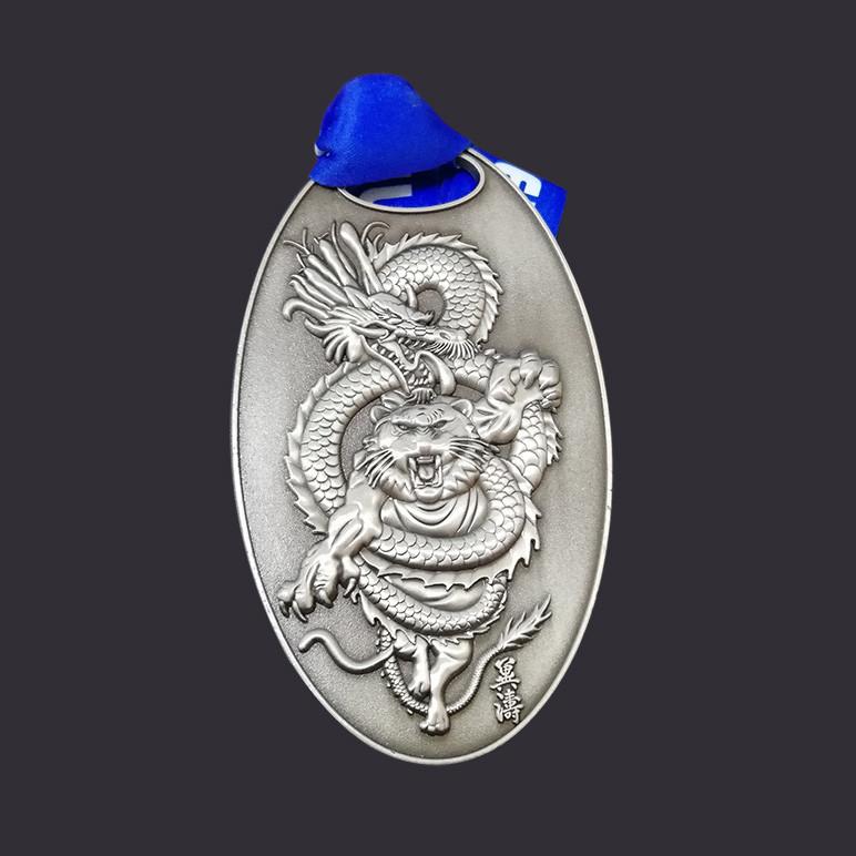 Sliver 3D engrave logo custom medals