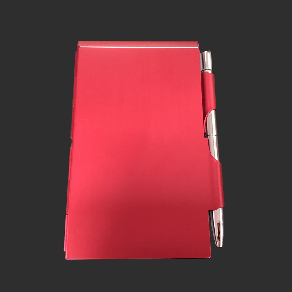 Portable Metal Notepad & Card Holder with Mini Metal Ballpen