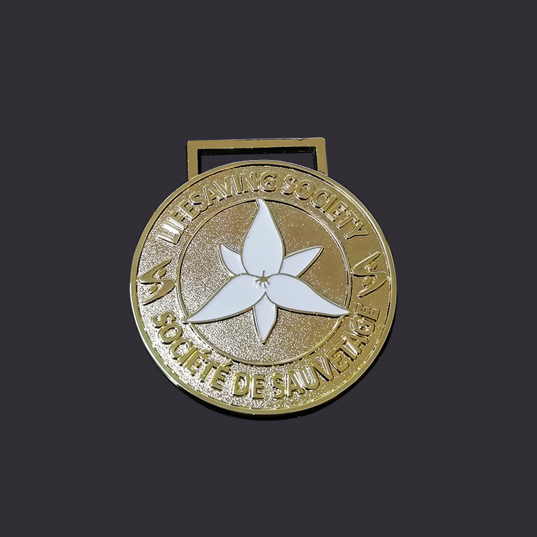 Gold plating medal with white enamel