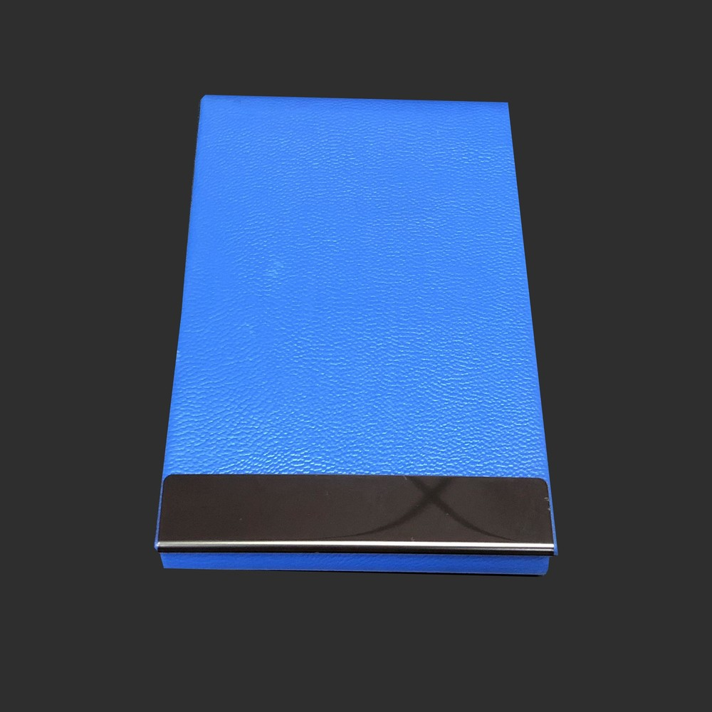 BLUE PU leather mix metal name card holder