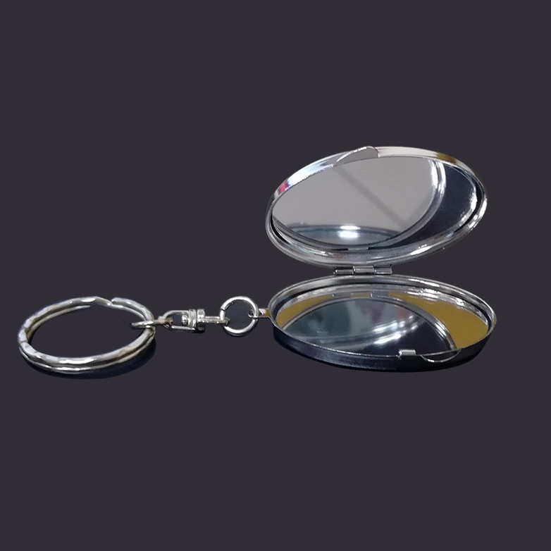 Oval cosmetic mirror keychain
