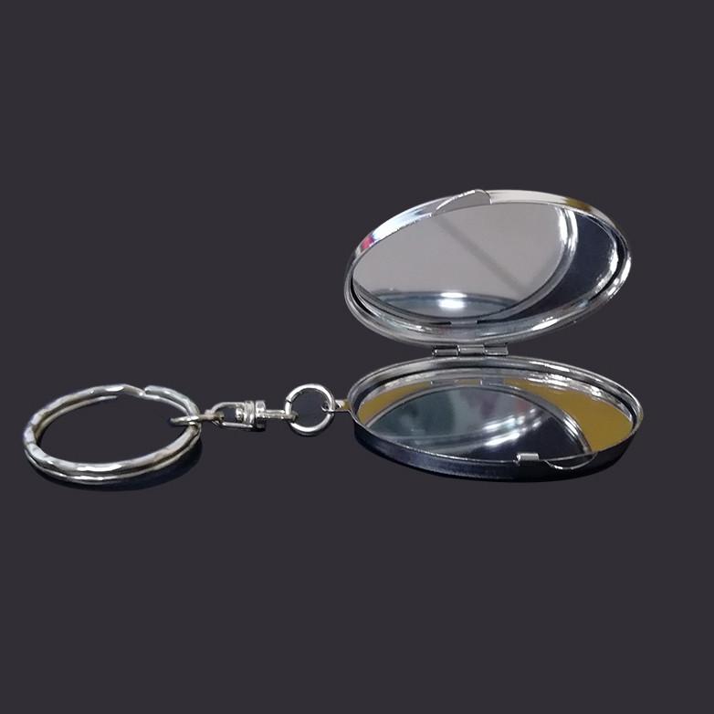 Oval cosmetic mirror keychain