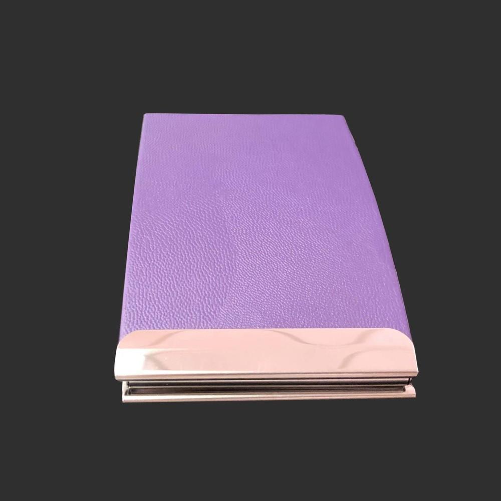 PU stainless iron purple metal card holder