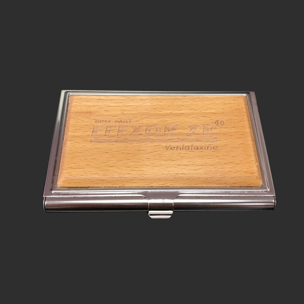 Premium Business card holder metal mix wood(can be customized logo)