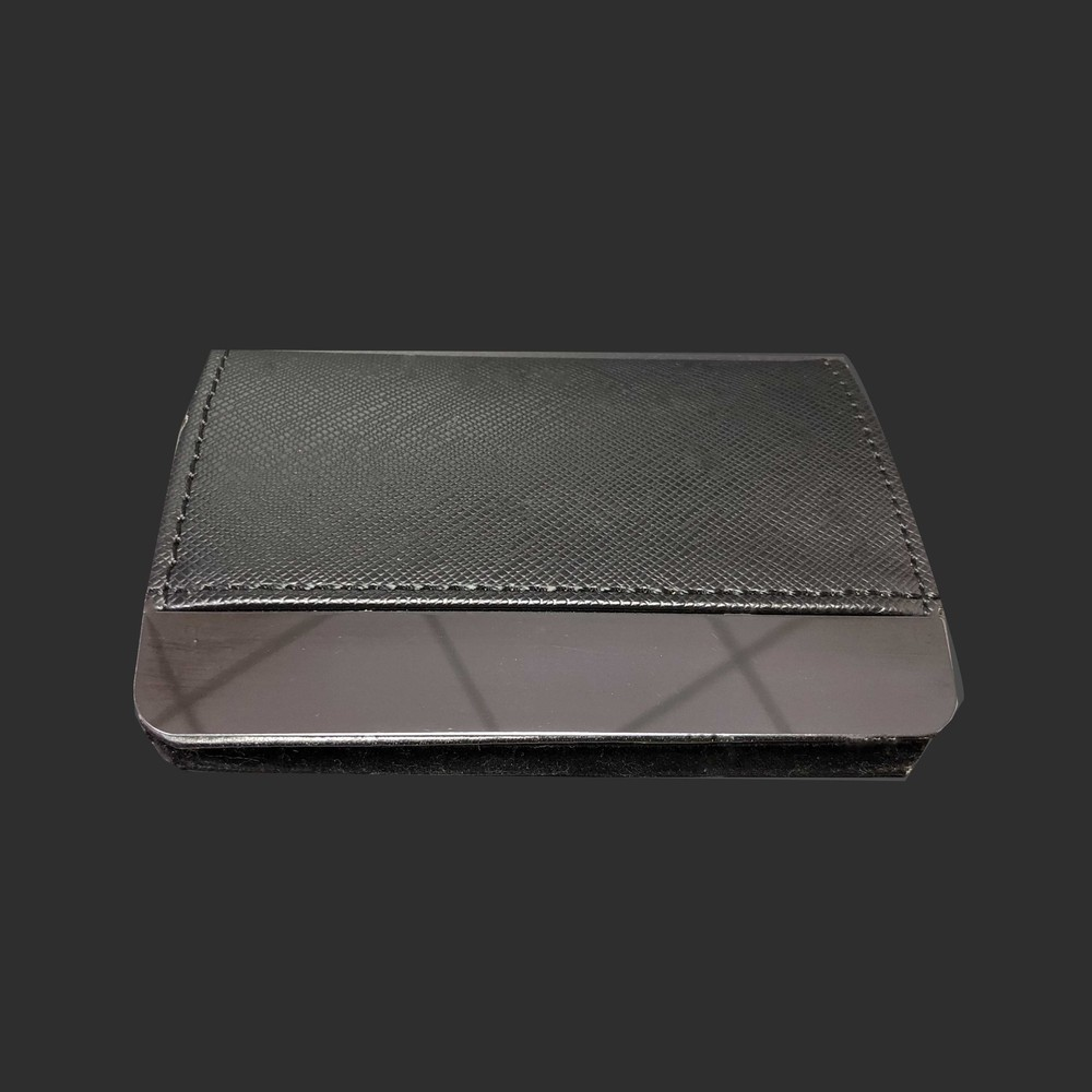 PU leather mix metal name card holder