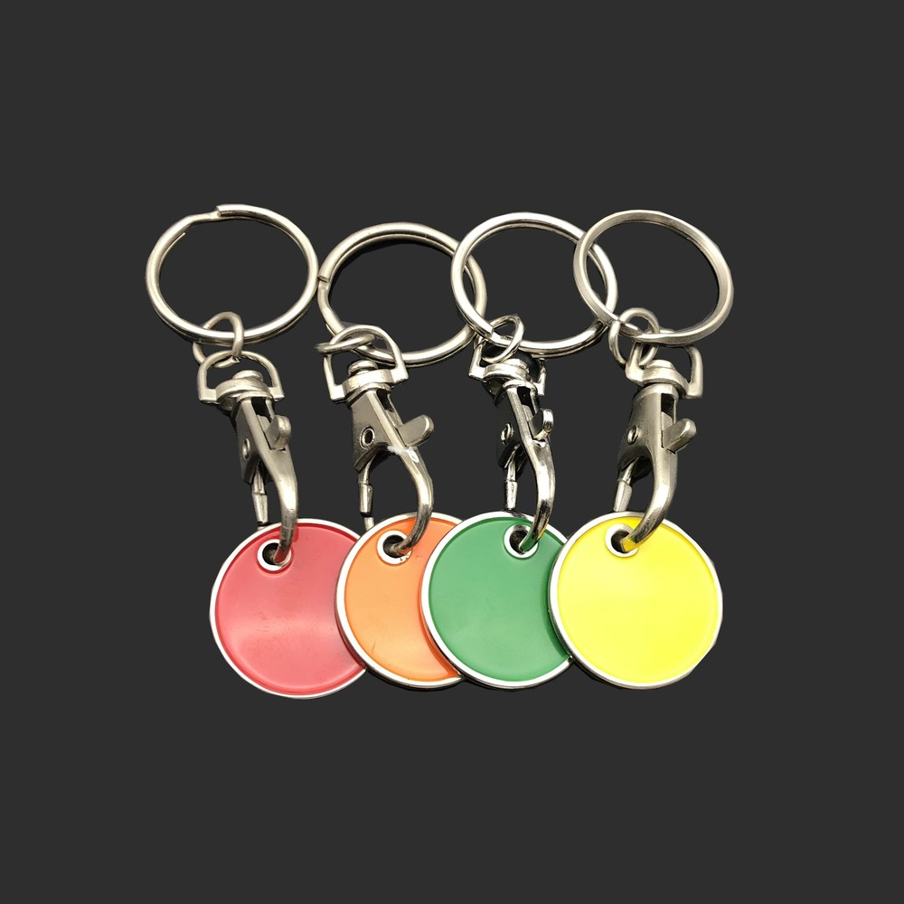 Colorful single side stainless steel metal coin key chain custom logo