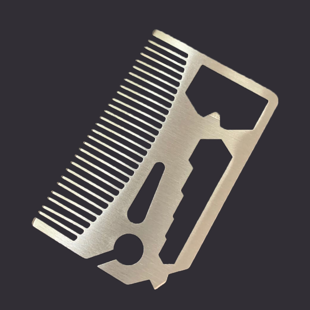stainless steal funtional bottle opener with comb