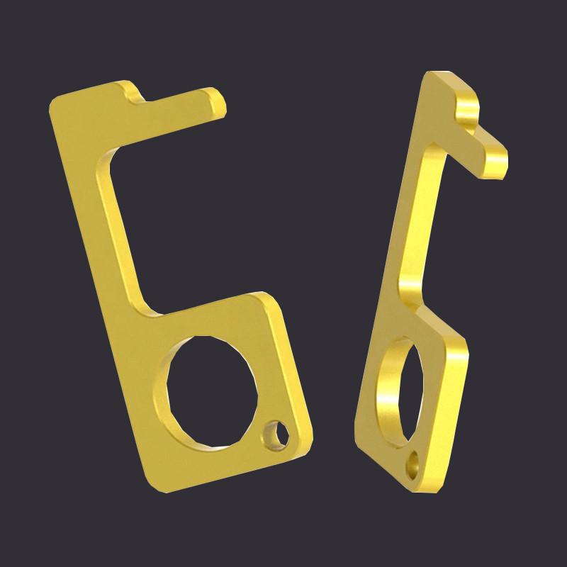 Factory Custom Zinc Alloy Material Hygiene Hand Zero Contact Key Chain No Touch Tool Door Opener Keychain