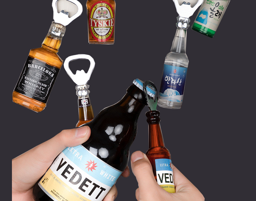 Creative beer bottle opener Personalized beer bottle opener multi-function with magnet refrigerator discount goods can be custom